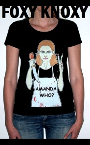 Amanda Knox Fashion T-shirt Foxy Knoxy Tee Amanda who Art Portrait Cartoon Illustration Performance Satire Critic Humor Chic by aleXsandro Palombo (4)