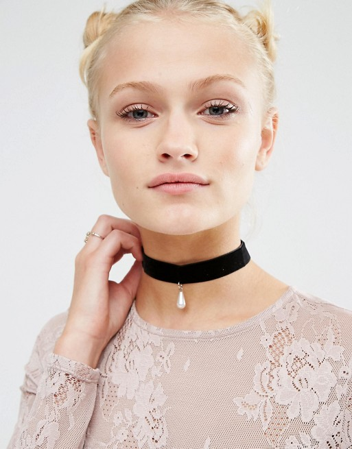 ASOS Velvet Pearl Choker Necklace