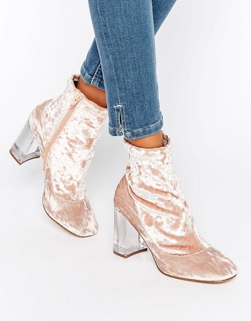 ASOS EAGLE Clear Heel Velvet Sock Boots