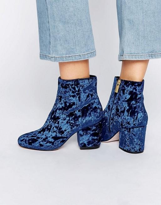 ASOS RACHELLE Velvet Heeled Ankle Boots