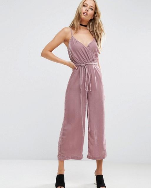 ASOS Wrap Front Belted Jumpsuit in Velvet