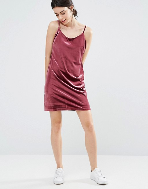 One Day Petite Allover Velvet Mini Slip Dress