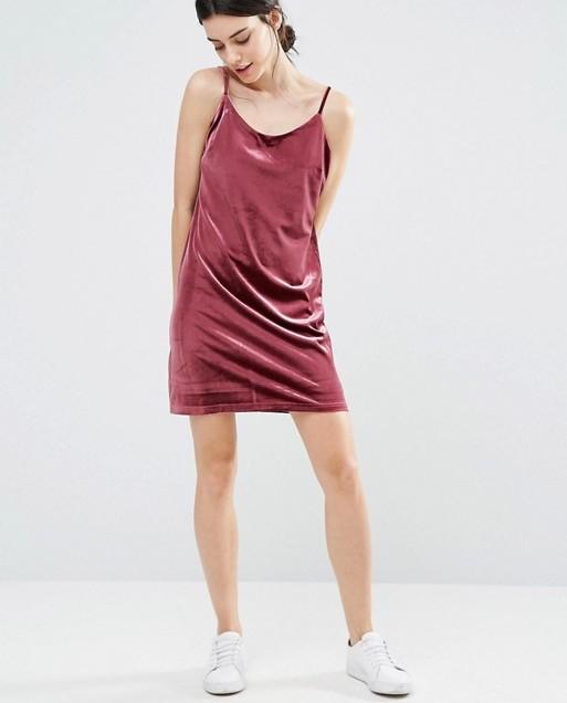 One Day Petite Allover Velvet Mini Slip Dress